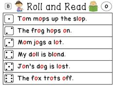 """Roll and Read Fluency Literacy Stations for the entire year for every sound! Each sound comes in 3 different levels (below level, on level, above level) which makes 120 different literacy station sheets! Makes differentiation so easy! All 120 come in both full black & white AND """"helper red"""" where the focus sound is red in words. AMAZING!"""