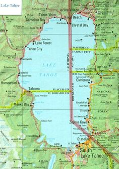 Map of Tahoe area.  (Cal-Neva pool, hotel, casino is found at Crystal Bay, north area.)  Most casinos are found at South Lake Tahoe area, right over the Nev. line!