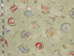 """Tea Cup Patterned Fabric - A coffee cup, teacup, tea pot latte fabric! A toss of vintage teapots and kettles with cups, saucers, plates, spoons, lemons, and flowers intermingle with the written words """"Tea"""" amd """"Latte""""."""