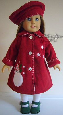 """SNOWMAN COAT + BERET HAT made for 18"""" American Girl Doll Clothes RED"""