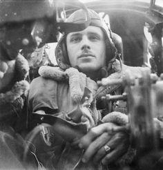Rear gunner taken inside his Wellington Bomber in 1941