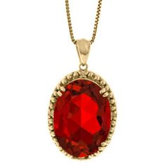 Large Oval Ruby Gemstone Diamond Pendant In Yellow Gold Available Exclusively at Gemologica.com