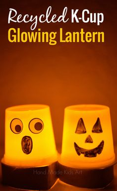 Halloween Crafts for Kids: Recycle a K-Cup into a glowing Halloween Lantern- neat way to recycle!