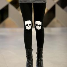 I need some good leggings and tights for this winter. These are awesomesauce. Skull knee leggings!