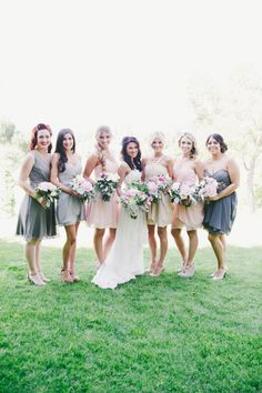 Gray + pink combo for bridesmaids | Photography: One Love Photo - onelovephoto.com  Read More: http://www.stylemepretty.com/california-weddings/2014/04/28/romantic-al-fresco-temecula-wedding/