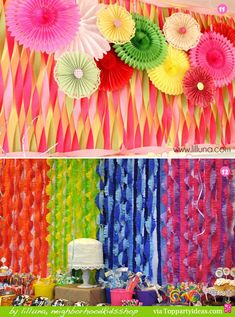 Paper Streamer Decorations 11 and 12 - colorful twisted streamers, cut fringe contrasting streamers VBS 2013 Colossal Coaster World.
