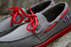 red, style, color combos, boat shoes, boats, men fashion, men's footwear, men shoes, grey