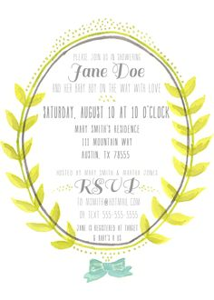 Free Printable: Watercolor Baby Shower Invitation