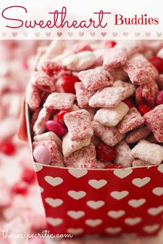 puppy chow, valentine treats, valentine day, cake mixes, sweetheart buddi