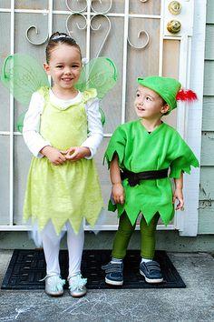 diy costumes, peter pan tinkerbell costume, halloween 2012, family halloween costumes