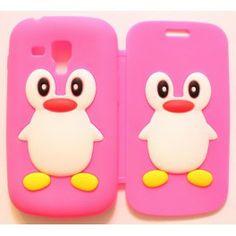 Galaxy Trend hot pink kannellinen pingviini silikonisuojus.