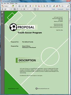 Youth Sports Program Sample Proposal - The Youth Sports Program Sample Proposal is an example of a proposal using Proposal Pack to pitch a youth sports program to parents. Create your own custom proposal using the full version of this completed sample as a guide with any Proposal Pack. Hundreds of visual designs to pick from or brand with your own logo and colors. Available only from ProposalKit.com (come over, see this sample and Like our Facebook page to get a 20% discount)
