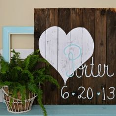 christmas trees made from wooden pallets | Wood Pallet Art Wedding Date Sign