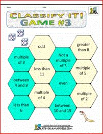 Classify It Game 3. A 2nd grade math game involving matching properties of numbers with dice rolls. Great for developing vocabulary.