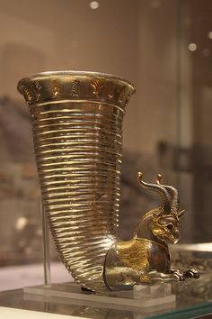 Silver horn-shaped rhyton from Iran (Persia)