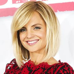 Blonde bob with side swept bangs - if I decide to go shorter I would definitely consider this! So cute!
