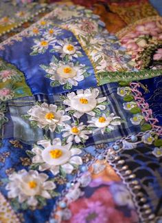 "a small view of the work of Allison Aller ... her award-winning quilt ""Crazy for Flowers""."
