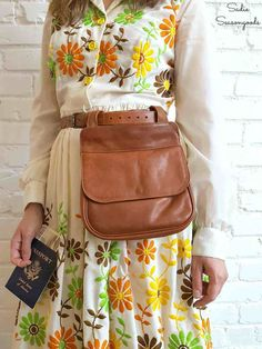 Repurpose a thrift store leather purse into a DIY fanny pack hip bag by Sadie Seasongoods and modeled by Kate DiNatale Vintage / www.sadieseasongoods.com