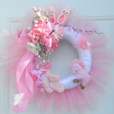Pink Gingham Baby Wreath Baby Shower Gift Baby by HungUpOnWreaths,