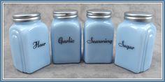 DELPHITE BLUE GLASS 4 PC ARCH SPICE JAR SHAKER SET
