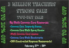 SALE!!  SALE!!!  28% off everything in Store.  ALL COMMON CORE ALIGNED RESOURCES!!!