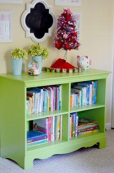 Dresser repurposed into a bookcase