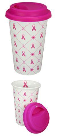 Pink Ribbon & Hearts Ceramic Travel Mug at The Breast Cancer Site