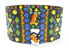 Mosaic Beadwoven Cuff Bracelet 262 - $141.00 - Handmade Jewelry, Crafts and Unique Gifts by Noveenna #cuffbracelet #bohojewelry #uniquejewelry #handmadejewelry
