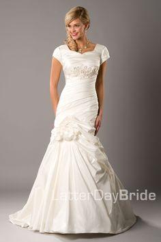 Modest Wedding Dress, Francoise   LatterDayBride & Prom. Modest Mormon LDS Temple Dress