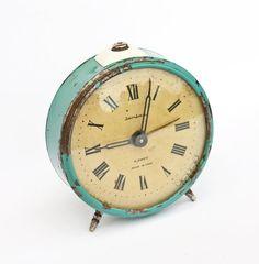 teal vintage alarm clock