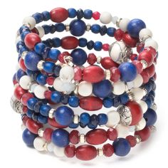 """Under an hour project! Learn how to make this red, white, and blue memory wire bracelet by Jane Konkel in the July 2013 issue of """"Bead Style."""""""