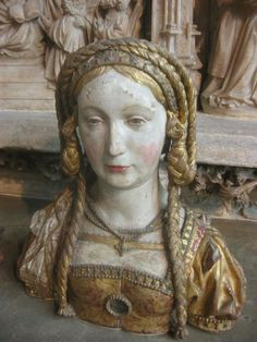 Saints head - 16th c. - nice hair