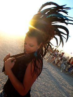Feather mohawk at Burning Man Festival