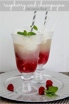 Girls Night In: Boozy Raspberry and Champagne Ice Cream Float #girlsnightin #ad #SweepsEntry