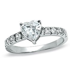 6.5mm Heart-Shaped Cubic Zirconia Solitaire Ring in Sterling Silver - PAGODA.COM