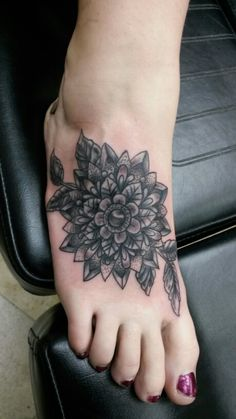 Sweet mandala twisted design for this foot tattoo. tattoos done by aj at wicked ways tattoos