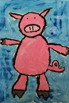 """Painted Pigs - 1st grade art lesson @ clownandpoodle.com, could read the book """"Julius"""" with this lesson"""