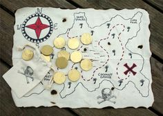 PIRATE Treasure Map Coins Set, Waldorf Toy Gold Doubloons Birthday Party Gift