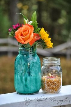 Pumpkin Carving Party - Fall Centerpiece - Mason Jars - Keep Calm & Mommy On Blog