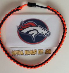 Denver Broncos paracord necklace perfect for the Bronco fan! Made with 10 feet of paracord that will last forever. Buy one ready made or make your own with our supplies from survivalbraceletkits.com