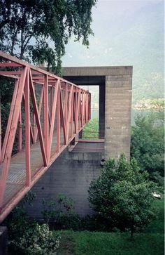 Mario Botta - Entry bridge to Casa Bianchi, Ticino 1973.