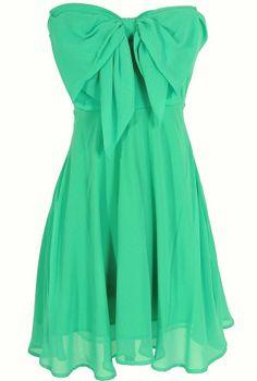Oversized Bow Chiffon Dress in Jade