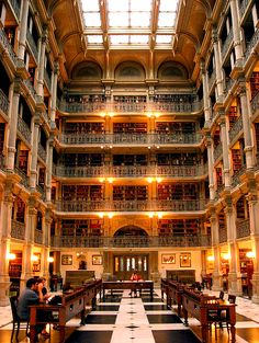 The Peabody Stack Room of the George Peabody Library , Baltimore, Maryland.