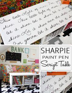 Sharpie art font pallet coffee table