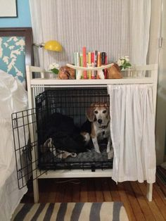 Bedside table dog crate