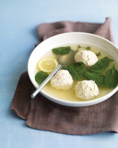 Chicken-and-Ricotta Meatballs in Broth