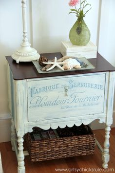 French Fabulous Cabinet Makeover - #chalkpaint -artsychicksrule.com