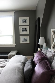 Sophisticated Grey and Purple Bedroom