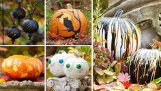 Skip the basic jack-o'-lanterns! Use these downloadable patterns to create pumpkins that add fall flair to your front entry.