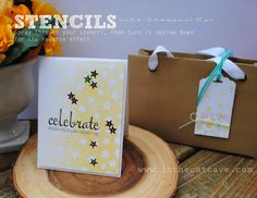 Stenciling Stars - spray through the stencil, then turn over & blot for two different looks!